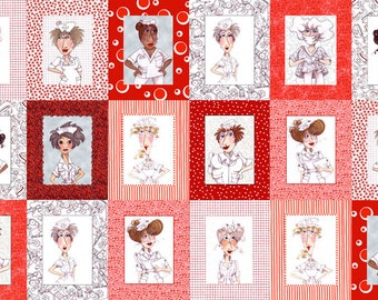 Nifty Nurses Red  24x44 Panel Cotton Quilting Fabric by Loralie Harris