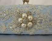 Something Blue wedding clutch bag .. vintage lace with Swarovski crystals and  pearls ... FREE shipping within the US