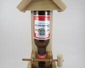 Handmade Wooden Natural Western Red Cedar Beer Bottle Bird Feeder - Budweiser - Perfect Gift for the Bird Lover Mom Dad Grandpa Grandma