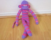 Purple and pink striped sock monkey doll - lavender and magenta sock monkey plush toy