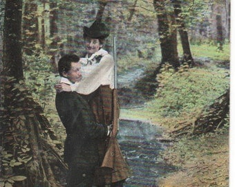 A True Gentleman Loving Care for his Lady 1909 Postcard
