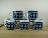 5 Royal Doulton Tangier LS 1005 Coffee Mugs Cups 1973 Lambeth Stoneware