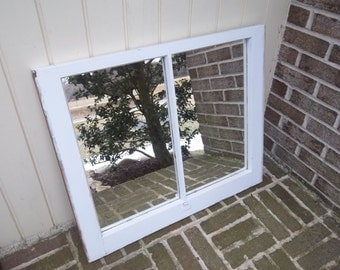 Vintage White paint window with mirror glass
