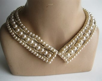 Vintage 1950s Bugle Beaded Collar - Faux Pearl Necklace - Bridal Fashions