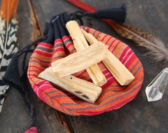 Sacred Palo Santo Incense Wood in Nepali Pouch / Ceremony, Meditation, Cleansing / Gift, Crystal Pouch / Mystical Natural Fragrant Wood