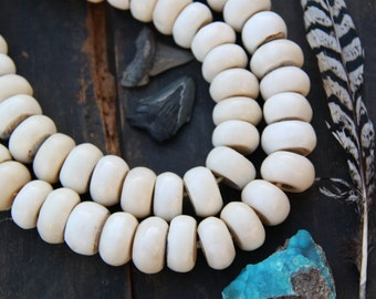 Large Creamy White Bone Rondelle Beads, Africa / 25x14mm / Tribal Fashion Necklace / Natural, Large-Hole Boho Jewelry Making Supplies