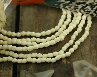 Cream Tiny Barrels : Small White Handmade Bone Spacer Tube Beads, 4x5mm, Natural Off White Boho Tribal Jewelry Making Supplies, 50 pcs