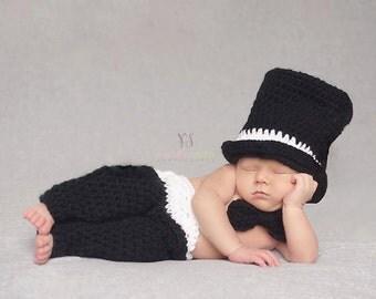 Newborn Tuxedo, Wedding Outfit, Baby Wedding Clothes, Boys Tuxedo, Top Hat, Bow Tie and Pants with Cummerbund type Waist, Photo Prop