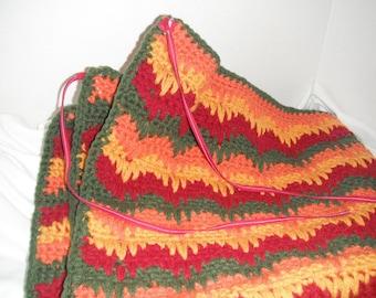 Flameblaze design crochet lap rug with ties