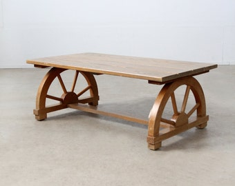 FREE SHIP 1940s wagon wheel coffee table , vintage California ranch table