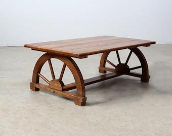 1940s wagon wheel coffee table, vintage Monterey style table