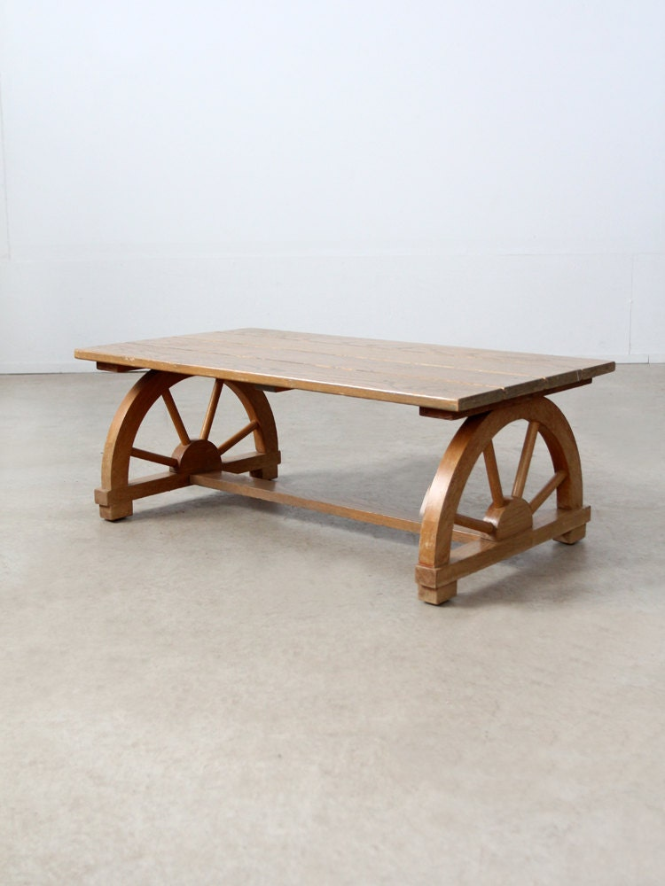1940s Wagon Wheel Coffee Table Vintage California Ranch