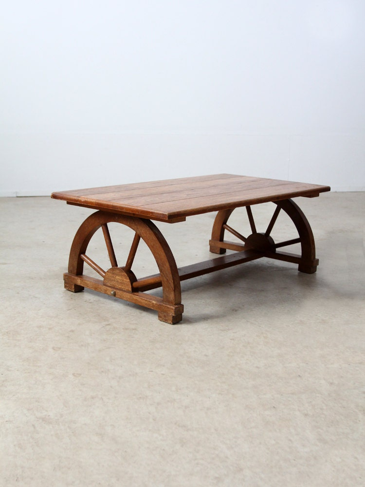 1940s Wagon Wheel Coffee Table Vintage Monterey Style Table