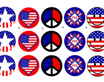Fourth of July Independence Day Patriotic 1 inch Pinback, Flatback Button Badge or Magnet set of 10