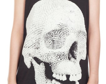 Diamond Skull Shirt Skull Tank Top Human Skeleton Punk Rock Tank Women Shirt Tunic Top Vest Sleeveless Tank Top Size M - IZJBT66