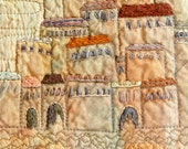 Old city on the rock embroidery wall art, Fiber Wall Art, textile art, unframed art, Mediterranean, soft ochre beige, abstract architecture