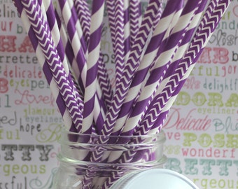 50 Purple Party Straws in Stripe and Chevron, Purple Wedding Straws, Purple Stripe Drinking Straws with Printable DIY Flag Template