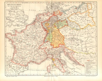 1896 Antique Map Showing Central Europe by the Time of the Napoleonic Wars in 1813