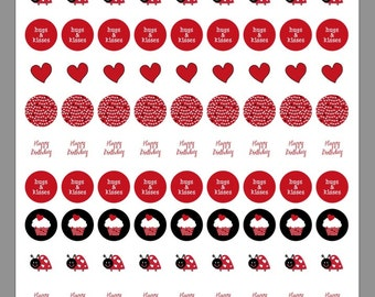 INSTANT DOWNLOAD Ladybug Love Bug Printable Birthday Party Favor Kisses Labels PDF File