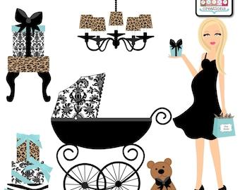 Leopard Damask Blue Baby Shower Clipart - Graphic Design - Blonde Pregnant Mom