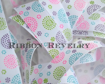 """Easter Ring around the rosie glitter dots on white 7/8"""" grosgrain ribbon - Easter collection NEw"""