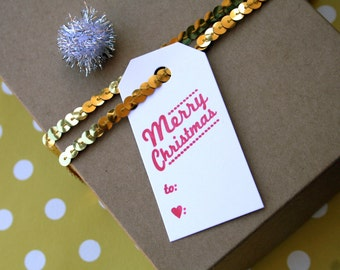 Cursive Merry Christmas / Letterpress Printed Gift Tags // Set of 6