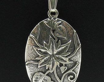 PE000423 Sterling silver pendant   925 solid huge flower handmade