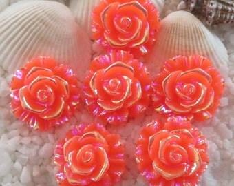 Resin Stunning AB Flower Cabochon - 20 mm - 12 pcs - Orange