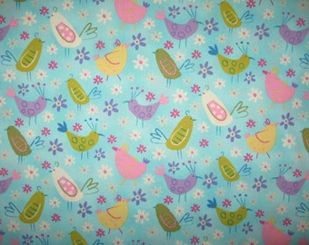 On a Whim birds on aqua by Robert Kaufman fabric 1 yard 23""