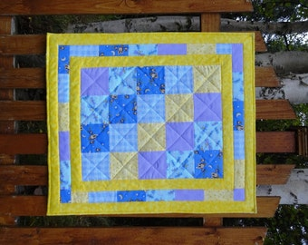 Flannel baby quilt in blues and yellow, baby patchwork quilt, nursery bedding, crib quilt, quilted playmat
