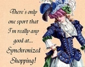 SUMMER SALE Synchronized Shopping as an Olympic Sport -- More Hilarious Marie Antoinette Postcards at Pretty Girl Postcards