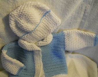 Newborn sweater and hat set