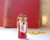 love in a bottle necklace, message in a bottle, red heart, free shipping,