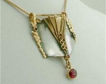 Hadar NEW Handmade Silver Gold Garnet Pendant Earrings (k e150)