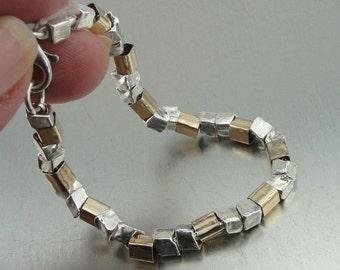 New Israel Modern 925 Sterling Silver 14K Goldfilled Bracelet (I b36