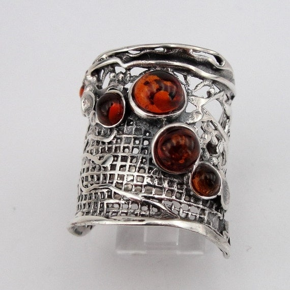 Hadar Jewelry Handcrafted Sterling Silver Amber Ring size 7.5 (H 144)