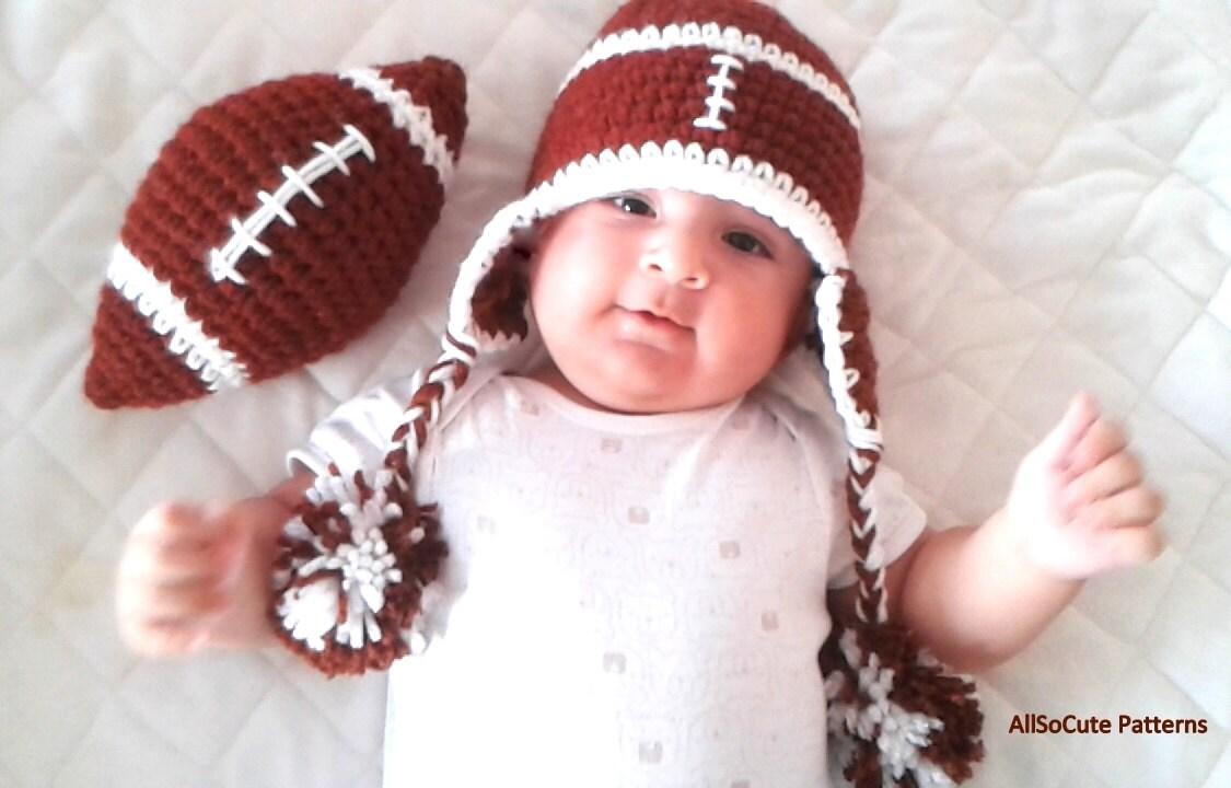 Soft Shells Baby Earflap Hat Crochet Pattern : Crochet PATTERN Baby Football Earflap Hat Crochet by AllSoCute