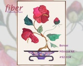 Bonsai Hibiscus Kit - Oriental Quilt Design for Applique, Cotton Designer Fabrics, Hand Applique Sewing Instructions, Wallhanging, Q92-01K