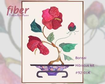 Bonsai Hibiscus Kit - Oriental Quilt Design for Applique, Cotton Designer Fabrics, Hand Applique Sewing Instructions, Wallhanging, Q92-01K