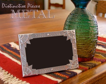 """Metal Picture Frame - Statue of Liberty - New Mexican Tinwork, Hand Punched Metal, Southwestern Metalwork, 4 x 6"""" Folk Art  Frame, FM0406-O"""