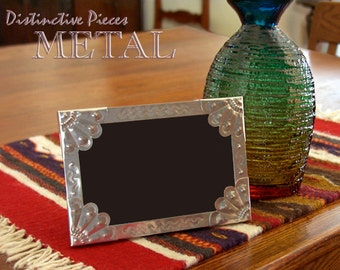 """Metal Picture Frame, Scallops - New Mexican Tinwork Style, Hand Punched Metal Photo/Picture Frame, Southwestern, 4 x 6"""" Folk Art, FM0406-Z"""