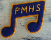 Eighth Note PMHS Chenille Patch Blue Gold Standard Pennant Company