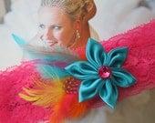Pink Prom Garter, Hot Pink Lace Garter, Neon Pink Garter,Turquoise Garter, Teal Blue Garter, Rainbow Weddings, Prom / Homecoming Garter