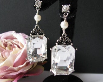 Antique Silver toned German Crystal Swarovski Pearl Wedding Earring Drops Pageant Jewelry
