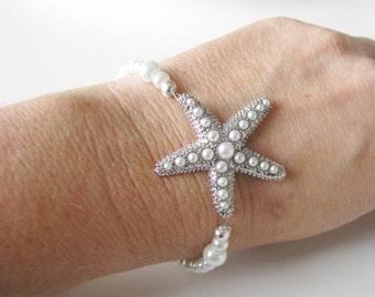 Beach Themed Wedding Bracelet in silver tone and White Swarovski Pearls  Great Bridal Wedding Jewelry