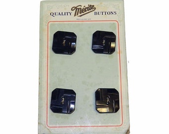 4 1930s Brown Bakelite Square Art Deco Buttons