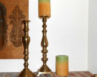 Vintage brass candelabras candlesticks brass candle holders huge brass candle holders hollywood regency 18 inch brass candlesticks giant
