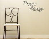 Prayers go up, Blessings come down wall art wall sayings vinyl letters stickers decals