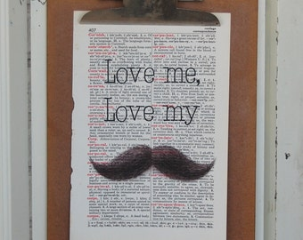 Mustache Love on Vintage Book Page