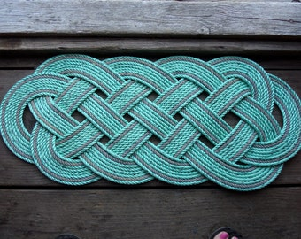 "Eco-Friendly Green with Gray  Accents Rope Rug 34"" x 14"" Recycled Rope Doormat Nautical"